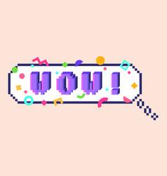 Pixel wow sticker vector