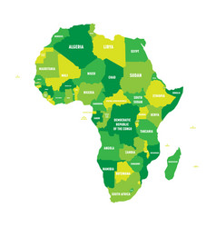 political map of africa in four shades of green vector image
