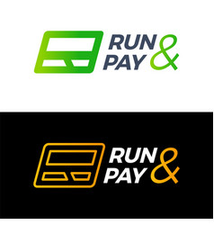 R letter run and pay credit card logo technology vector