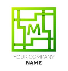 Realistic letter m symbol in colorful square maze vector