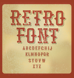retro alphabet vintage letters on aged paper vector image