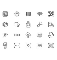 rfid qr code barcode line icon set price tag vector image