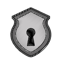 security shield with shape hole isolated icon vector image