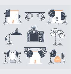 Set elements photo studio vector