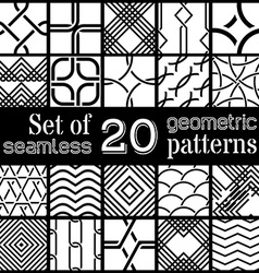 set of 20 geometric seamless patterns vector image