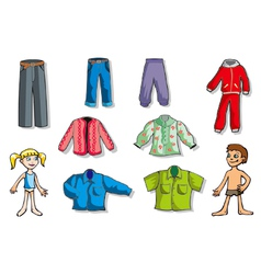 set of children clothes vector image