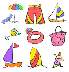 Set summer object doodle style vector