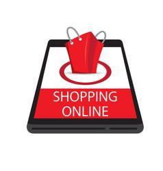 Shopping online mobile red bag background i vector