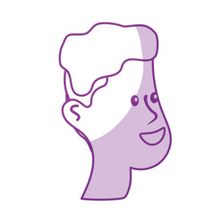Silhouette happy and nice head man with hairstyle vector