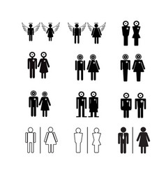 silhouette people icons vector image