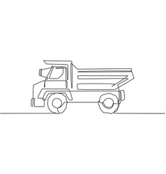 single continuous line drawing big dump truck vector image