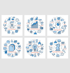 six business square banners - growth idea manager vector image