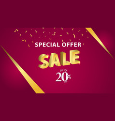 Special offer sale up to 20 off template design vector