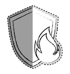 Sticker monochrome blurred of shield with flame vector