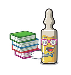 Student with book ampoule mascot cartoon style vector