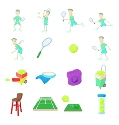 Tennis icons set cartoon style vector image