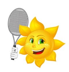 Tennis player sun with racket vector