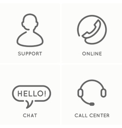 the set line icons for service and support vector image