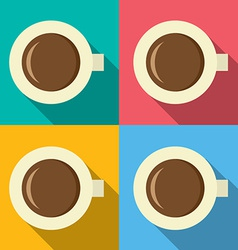 Top View Of Hot Coffee Mug On Colorful Background vector image