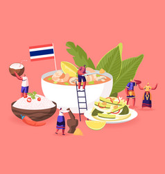 Traditional thai cuisine concept people in vector