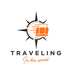 Traveling wind rose and suitcase icon vector