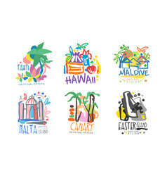 tropical exotic islands logo design tahiti vector image
