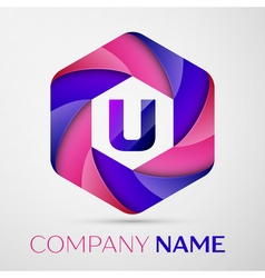 U Letter colorful logo in the hexagonal on grey vector