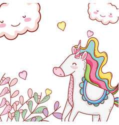 unicorn cute cartoons vector image