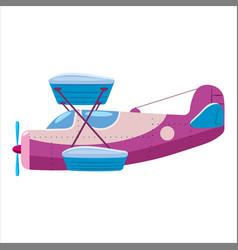 Vintage airplane biplane cartoon retro violet vector