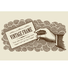 vintage frame background with hand vector image