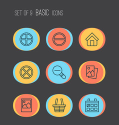 Web icons set with trading basket remove vector