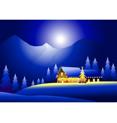 Winter Landsacpe and Happy Christmas vector image