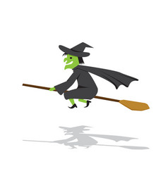 Witch on a broomstick in flat cartoon style vector