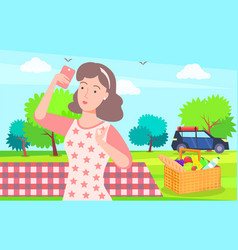 Woman on vacation picnic on nature taking selfie vector