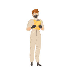 young man in mask and protective suit standing vector image