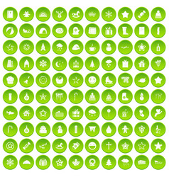 100 christmas icons set green circle vector image vector image