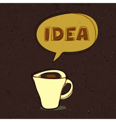 coffee cup with idea word vector image