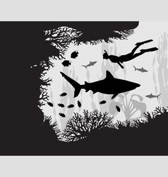 Diver in coral reef vector image