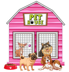 dogs in pink pet house vector image
