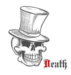 Elegant mister skull in vintage top hat sketch vector image vector image
