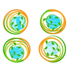 green icons with flower vector image vector image