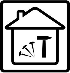 icon with house nails and hammer vector image vector image