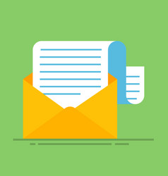 new email message flat carton envelope with open vector image vector image