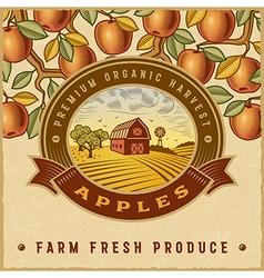 Vintage colorful apple harvest label vector image vector image