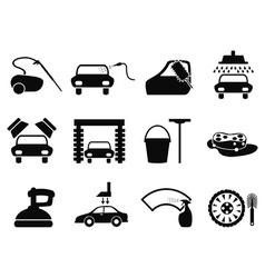car washing icons set vector image vector image