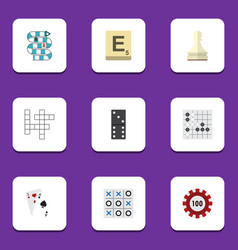 flat icon entertainment set of bones game mahjong vector image vector image