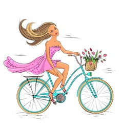 Girl on the bike isolated on white vector image