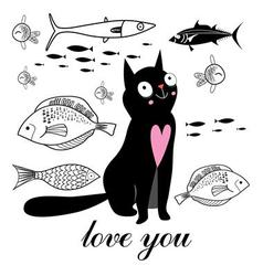 Graphics funny cat and fish on a white background vector