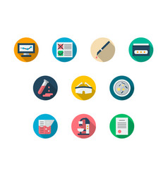 laboratory round color icons set vector image