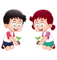 Little kids is planting small plant vector image vector image